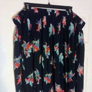Pleated Floral Flare Skirt - Plus Sized Pin Up